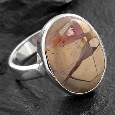 Silver and Brecciated Mookite Ring