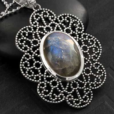 Labradorite and Silver Bloom Necklace