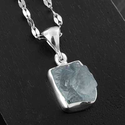 Rough Aquamarine and Silver Necklace