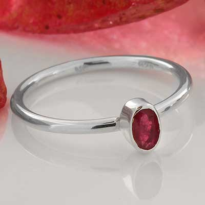 Silver and Ruby Gemstone Ring