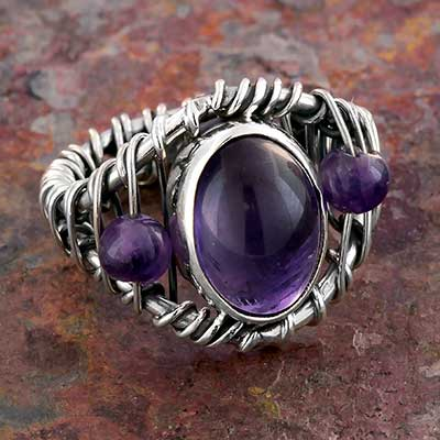 Silver and Wire Wrapped Amethyst Ring