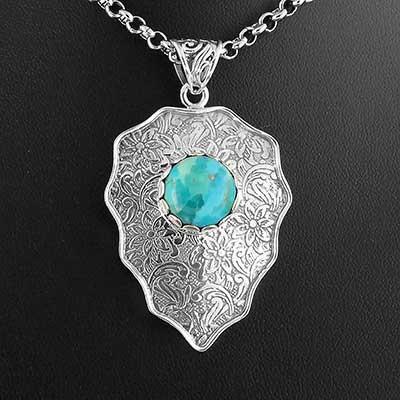 Vintage Turquoise Teardrop and Silver Necklace