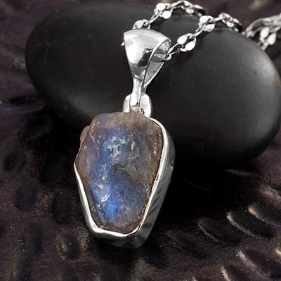 Rough Labradorite and Silver Necklace