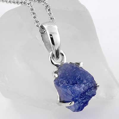 Rough Tanzanite and Silver Necklace