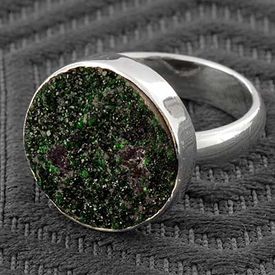 Silver and Uvarovite Ring