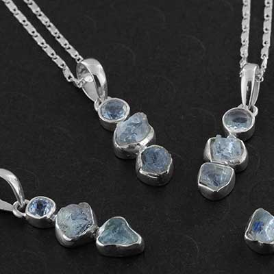Silver and Aquamarine Trio Necklace