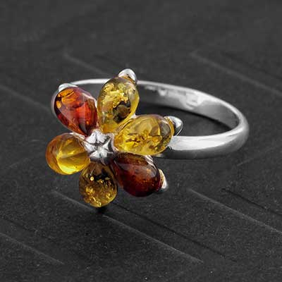 Silver and Baltic Amber Flower Ring