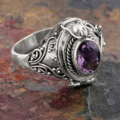 Silver and Amethyst Gemstone Poison Ring
