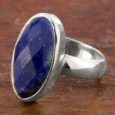 Silver and Faceted Lapis Ring