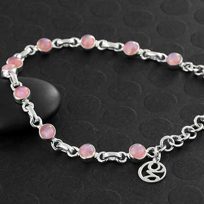 Pink Moonstone and Silver Bracelet