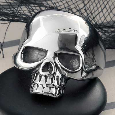 Polished Skull Steel Ring