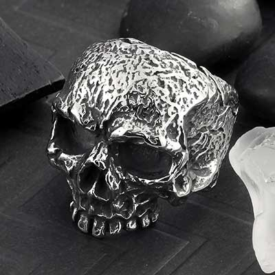 Tarnished Skull Steel Ring