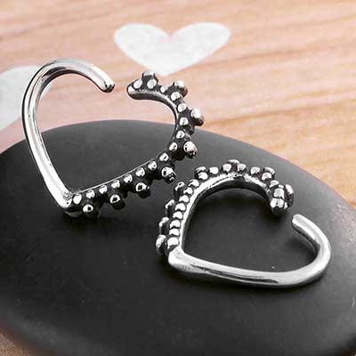 Beaded Heart Seamless Ring