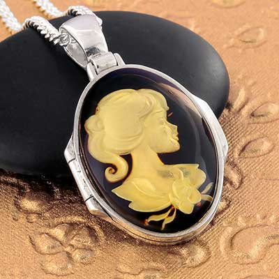 Silver and Amber Lady Locket Necklace
