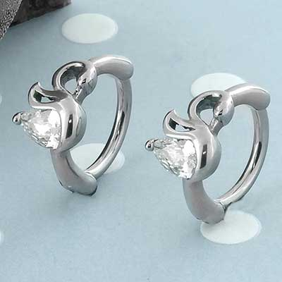 Swan CZ Clicker Ring