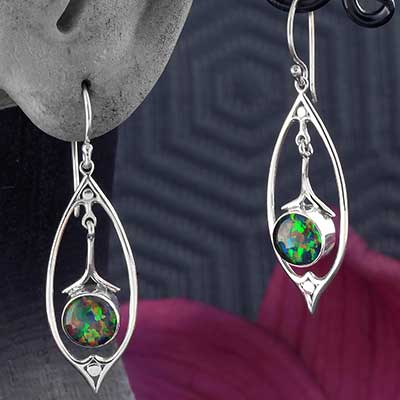 Silver and Black Opal Pendulum Earrings