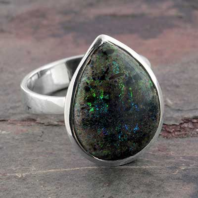 Silver and Honduran Black Opal Ring