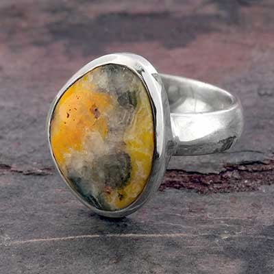 Silver and Bumble Bee Jasper Ring