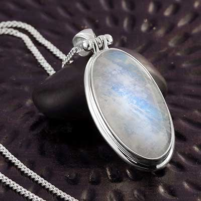 Silver and Rainbow Moonstone Pendant Necklace