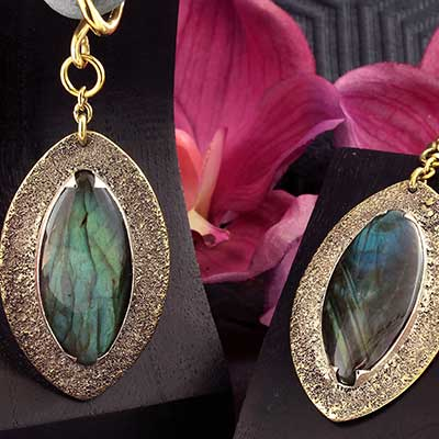 Distressed Brass and Labradorite Dangle Weights