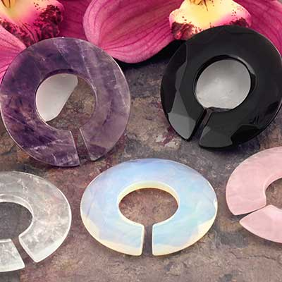 Stone and Glass Sliver Rings