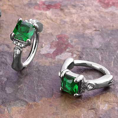 Side Set Green Jewel Clicker Ring