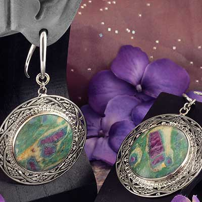 White Brass and Ruby Fuchsite Medallion Weights