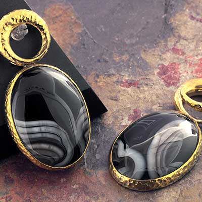 Hammered Brass Fused Coil Weights with Agate