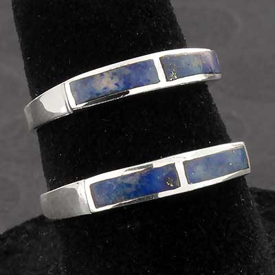 Silver and Lapis Band Ring