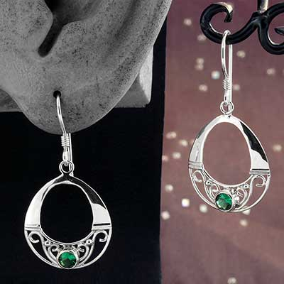 Silver and Green Quartz Ornate Circle Earrings