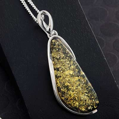 Silver and Green Baltic Amber Pendant Necklace