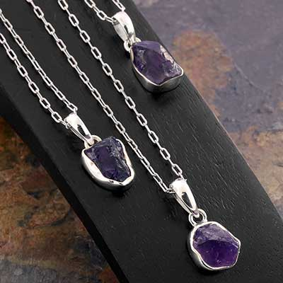Rough Amethyst and Silver Necklace