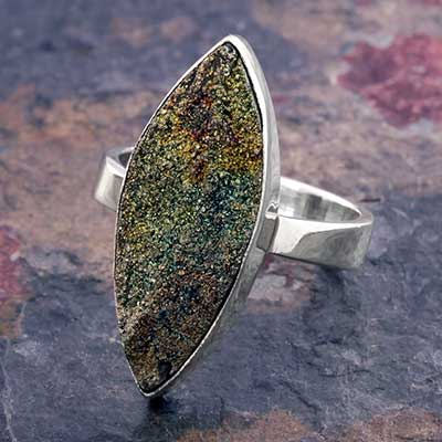Silver and Spectro Pyrite Ring
