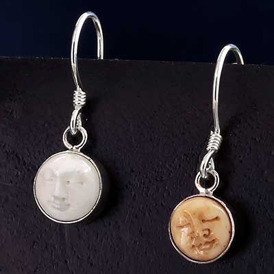 Bone Moon Face Earrings