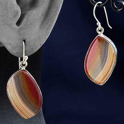 Silver and Red Agate Earrings