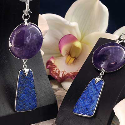 Silver and Amethyst with Lapis Flower Weights