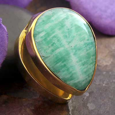Solid Brass Spade Weights with Amazonite