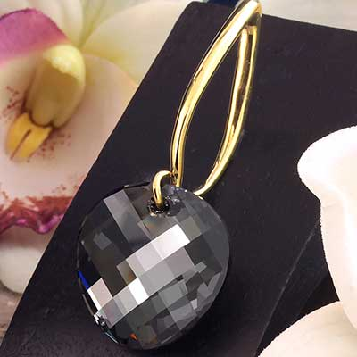 Black Diamond Swarovski Crystal with Brass Hooks