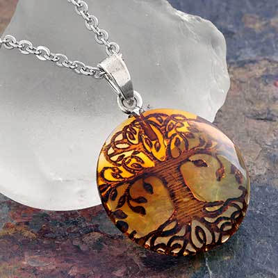 Silver and Tree of Life Amber Necklace