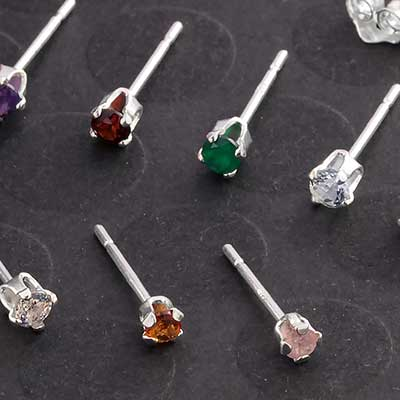 Silver Prong Set Genuine Gemstone Stud Earrings