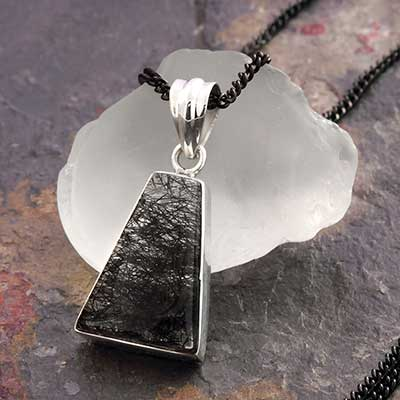 Tourmalated Quartz and Silver Necklace
