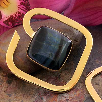 Solid Brass Square Weights with Tiger Eye