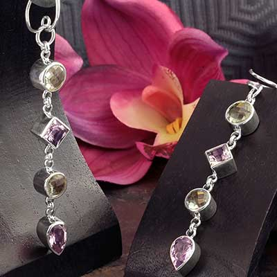 Silver and Amethyst Jewel Weights