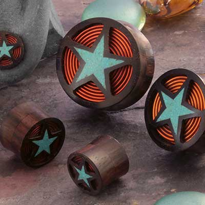 Arang Wood Turquoise Star Plugs