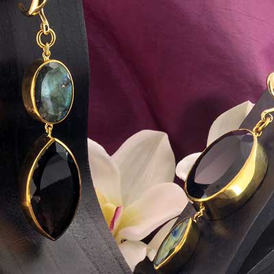 Solid Brass and Smokey Topaz Jewel Weights