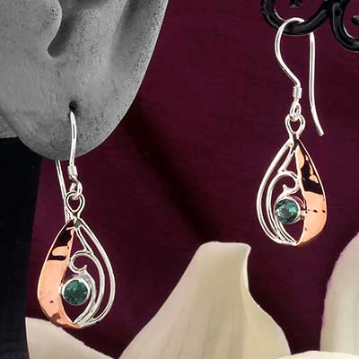 Silver and Copper Gemstone Teardrop Earrings