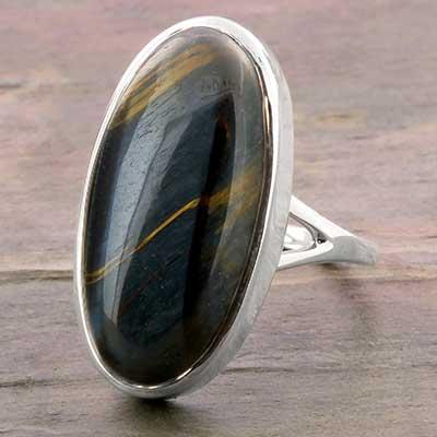 Silver and Dark Blue Tiger Eye Ring