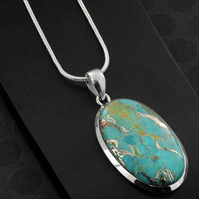 Silver and Turquoise Pendant Necklace