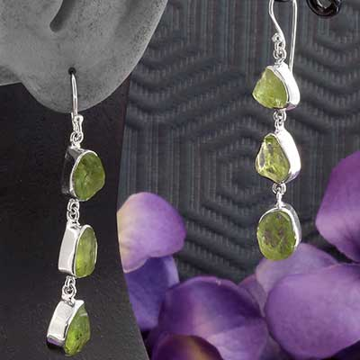 Silver and Trio Rough Peridot Earrings
