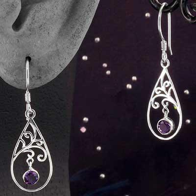 Silver and Amethyst Teardrop Prosper Earrings